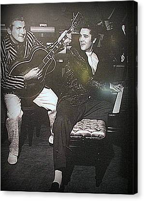 Liberace And Elvis Canvas Print by Kay Novy