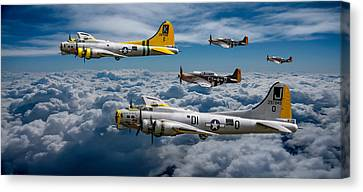 Liberty Belle And Fuddy Duddy With Mustangs Canvas Print