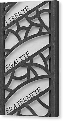 Liberte Egalite Fraternite In Black And White Canvas Print by Georgia Fowler