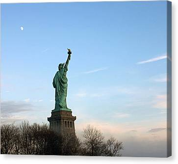 Canvas Print featuring the photograph Liberty And Moon by Jose Oquendo