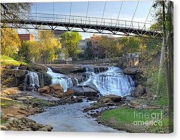 Liberty Bridge And The Falls In Downtown Greenville Sc Canvas Print