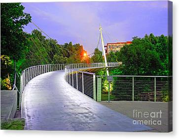 Liberty Bridge In Downtown Greenville Sc At Sunrise Canvas Print