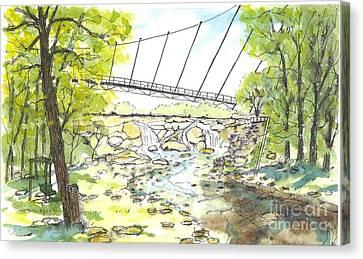 Liberty Bridge With Swing Canvas Print
