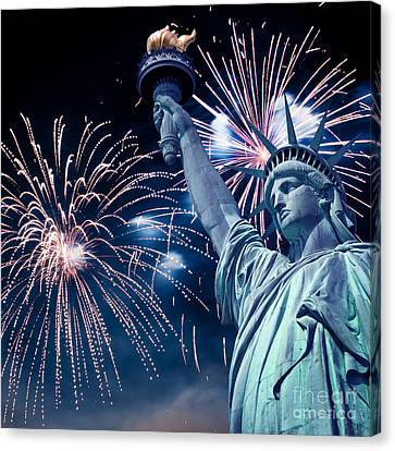 Liberty Fireworks Canvas Print by Delphimages Photo Creations