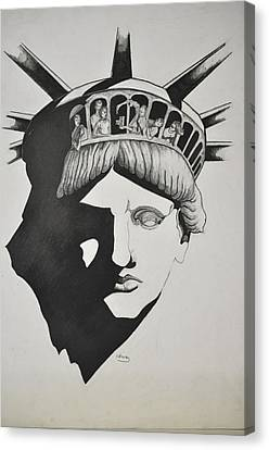 Liberty Head With People Canvas Print