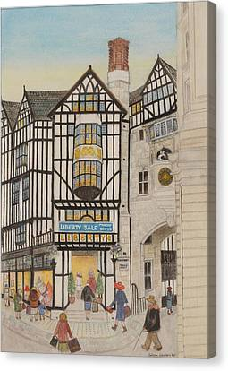 Shop Front Canvas Print - Liberty I, 1988 Watercolour On Paper by Gillian Lawson