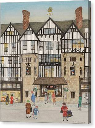 Shop Front Canvas Print - Liberty II, 1988 Watercolour On Paper by Gillian Lawson