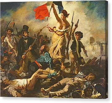 Liberty Leading The People, 28 July 1830 Canvas Print by Ferdinand Victor Eugene Delacroix