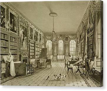 Library As Sitting Room, Cassiobury Canvas Print by Augustus Welby Pugin