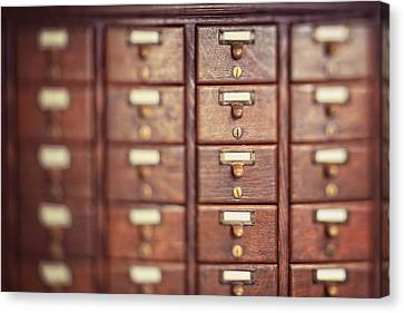 Canvas Print featuring the photograph Library Case by Heather Green
