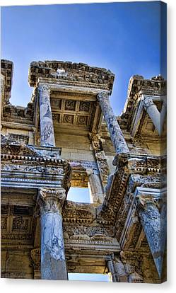Ruin Canvas Print - Library Of Celsus by David Smith
