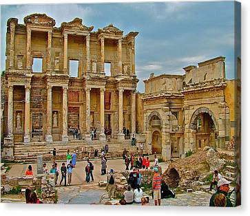 Library Of Celsus Canvas Print - Library Of Celsus In Ephesus-turkey by Ruth Hager