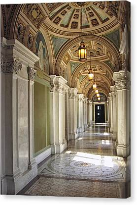 Library Of Congress Hallway Washington Dc Canvas Print by Mary Lee Dereske