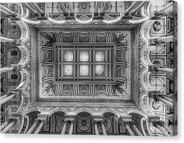 Library Of Congress Main Hall Ceiling Bw Canvas Print by Susan Candelario