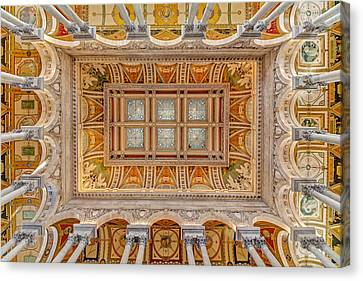 Library Of Congress Main Hall Ceiling Canvas Print by Susan Candelario
