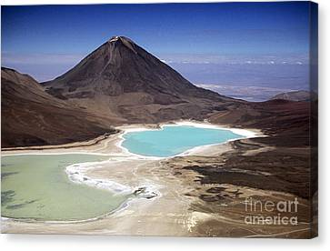Licancabur Volcano And Laguna Verde Canvas Print by James Brunker