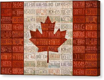 Maple Canvas Print - License Plate Art Flag Of Canada by Design Turnpike