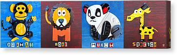 License Plate Art Jungle Animals Series 1 Canvas Print