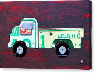 License Plate Art Pickup Truck Canvas Print