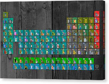 License Plate Art Recycled Periodic Table Of The Elements By Design Turnpike Canvas Print by Design Turnpike