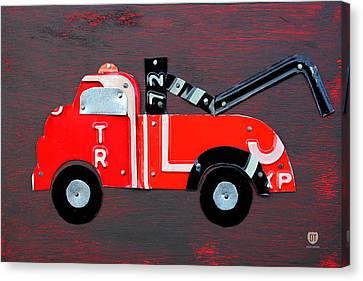 License Plate Art Tow Truck Canvas Print