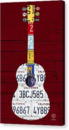 License Plate Guitar Edition 1 Vintage Recycled Metal On Wood Canvas Print by Design Turnpike