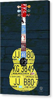 License Plate Guitar Edition 2 Vintage Recycled Metal Art On Wood Canvas Print by Design Turnpike