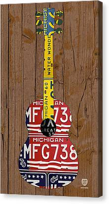 License Plate Guitar Michigan Edition 3 Vintage Recycled Metal Art On Wood Canvas Print by Design Turnpike