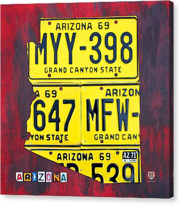 Arizona Canvas Print - License Plate Map Of Arizona By Design Turnpike by Design Turnpike