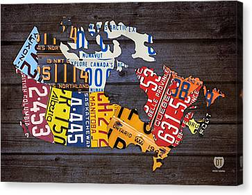 Maple Leaf Art Canvas Print - License Plate Map Of Canada by Design Turnpike