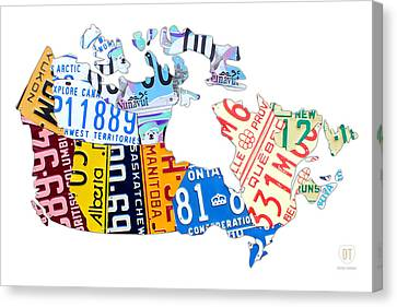 License Plate Map Of Canada On White Canvas Print by Design Turnpike