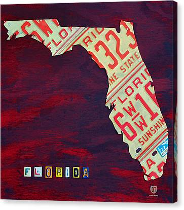 License Plate Map Of Florida By Design Turnpike Canvas Print