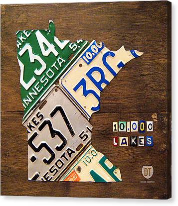 License Plate Map Of Minnesota By Design Turnpike Canvas Print