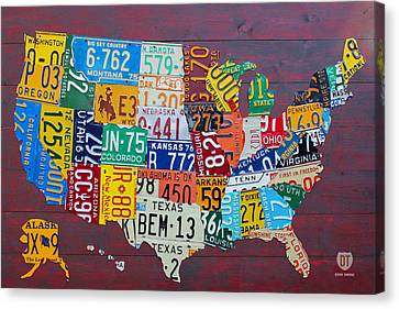 Metal Canvas Print - License Plate Map Of The United States by Design Turnpike