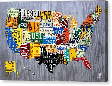 License Plate Map Of The United States - Muscle Car Era - On Silver Canvas Print by Design Turnpike