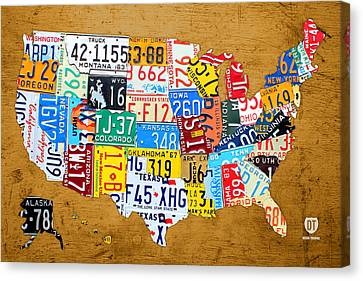 Tag Art Canvas Print - License Plate Map Of The United States On Burnt Orange Slab by Design Turnpike