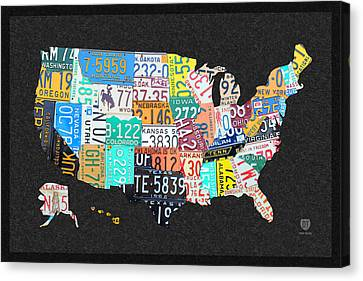 License Plate Map Of The United States On Gray Felt With Black Box Frame Edition 14 Canvas Print by Design Turnpike