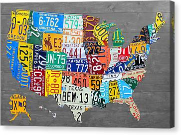 License Plate Map Of The United States On Gray Wood Boards Canvas Print