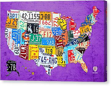 License Plate Map Of The United States On Vibrant Purple Slab Canvas Print by Design Turnpike