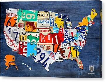 License Plate Map Of The United States - Small On Blue Canvas Print by Design Turnpike
