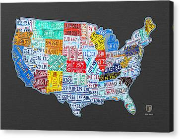 License Plate Map Of The Usa On Gray Canvas Print by Design Turnpike