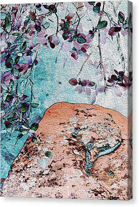 Lichen And Leaves Canvas Print