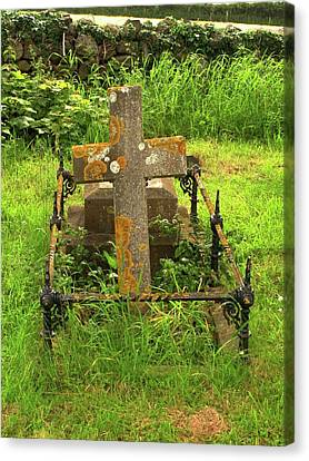 Graveyard Canvas Print - Lichen On A Stone Cross In Clean Air by Cordelia Molloy