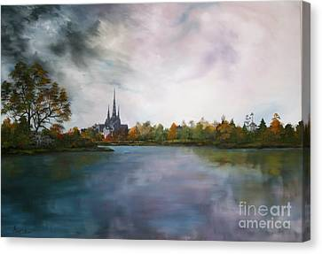 Lichfield Catherdral A View From Stowe Pool Canvas Print by Jean Walker
