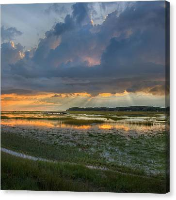 Lieutenant Island Sunset Square Canvas Print by Bill Wakeley