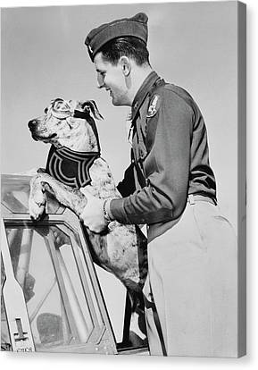 Lieutenant Lifting His Great Dane Canvas Print