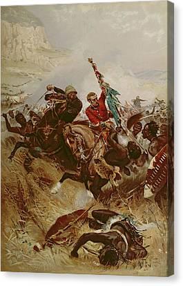 Lieutenants Nelville And Coghill Saving Canvas Print by Alfred A.B. de Neauville