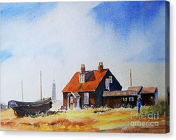 Canvas Print featuring the painting Life In Dungeness by Beatrice Cloake