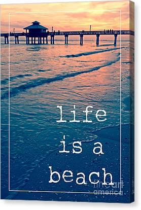 Life Is A Beach Sunset Pier Canvas Print by Edward Fielding