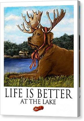 Life Is Better At The Lake Chocolate Lab Canvas Print by Kathleen Harte Gilsenan